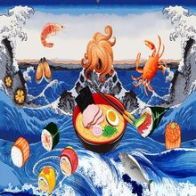 Delicious Japanese Seafood Cuisine Ocean Food wallpapers Dining Room Restaurant Decorative Background Wall(China)