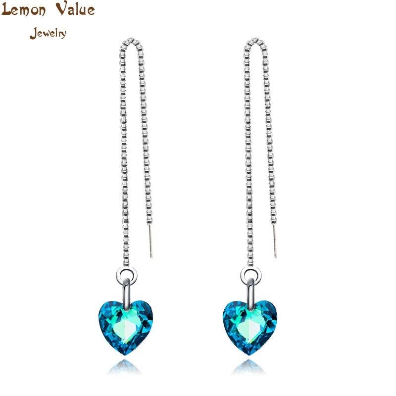 6709707a51c8 Лимон значение Bijoux Мода Посеребренная горный хрусталь сердце Висячие  Серьги Синий Кристалл Длинные Серьги Для женщин ювелирные Brincos B196