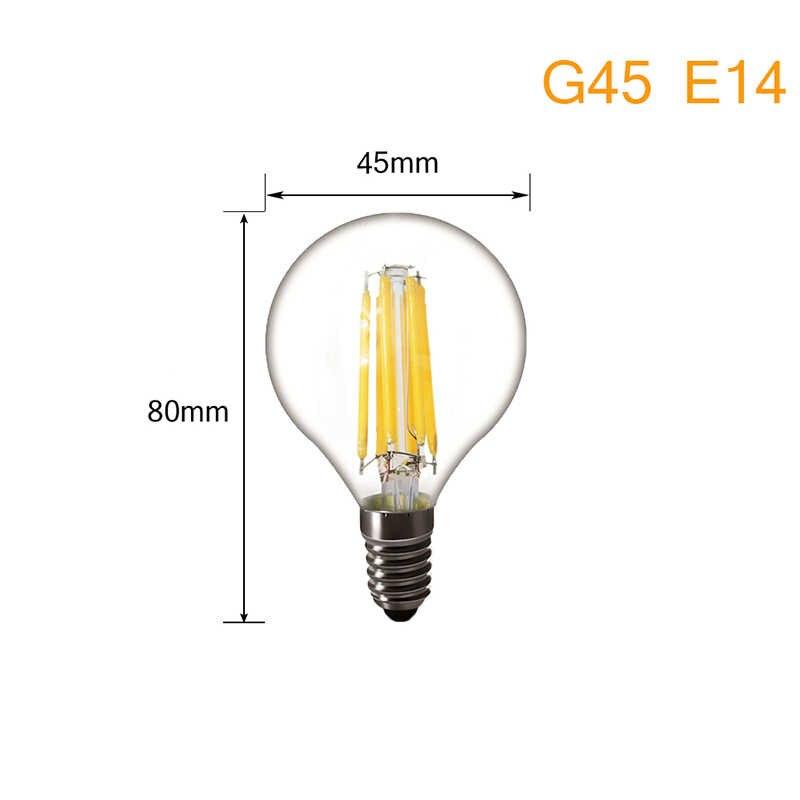 Светодиодный лампы E14 Светодиодный лампа-свеча E27 светодиодный ламп накаливания E27 электрическая лампочка эдисона 220 V Стекло заменить 20 Вт, 30 Вт, 40 Вт, 50 Вт, ручная сборка, лампы накаливания