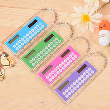 Hot Sale Mini Portable Solar Energy Calculator Colorful Cute Multifunction Ruler Calculator Student Office Lovely Gift