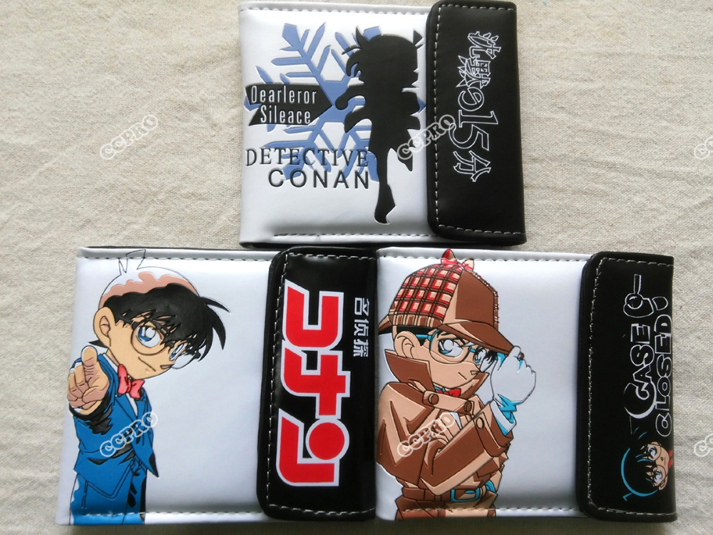 Anime Detective Conan PU short wallet w/button&colorful printing w/Conan Edogawa 5pc conan action figure detective conan doll boxes high quality toy anime action figure garage kits gift of mini conan model