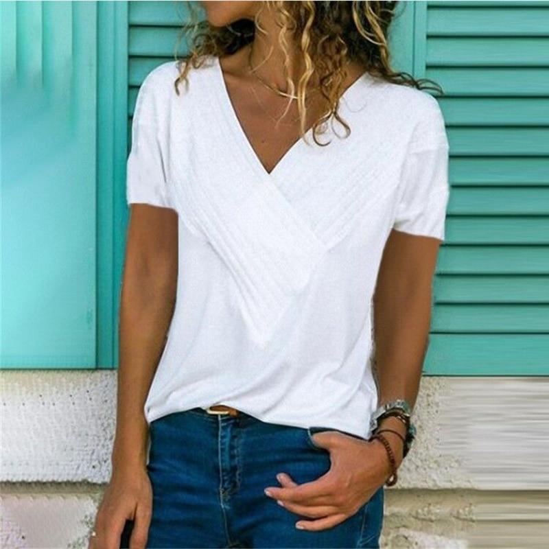 Plus Size 5XL Summer Womens Tops And Blouses Short Sleeve V-neck Blouse Shirt Women Solid Blusas 2019 Chemisier Femme SJ1955M