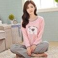 Pijamas de algodão Das Senhoras impressão Elefante Dos Desenhos Animados Das Mulheres Pijamas de Algodão conjunto de pijama Em Torno Do Pescoço Plus Size Sleepwear Terno combinaison