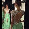 Largos Vestidos de Noche 2017 Cristales Hendidura Verde Con Cuentas Cuello En V Un line vestidos de festa prom vestidos de partido por encargo del envío libre sj