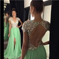 Long Evening Dresses 2017 Green Slit Crystals Beaded V Neck A Line Vestidos De Festa Prom Party Dresses Free Shipping Custom SJ