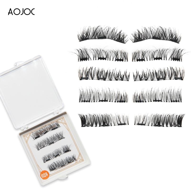 4pcs Magnetic Eyelashes False Eyelash on The Magnet Natural Long Reusable Soft 3D Magnetic EyeLashes False Eyelash Extensions