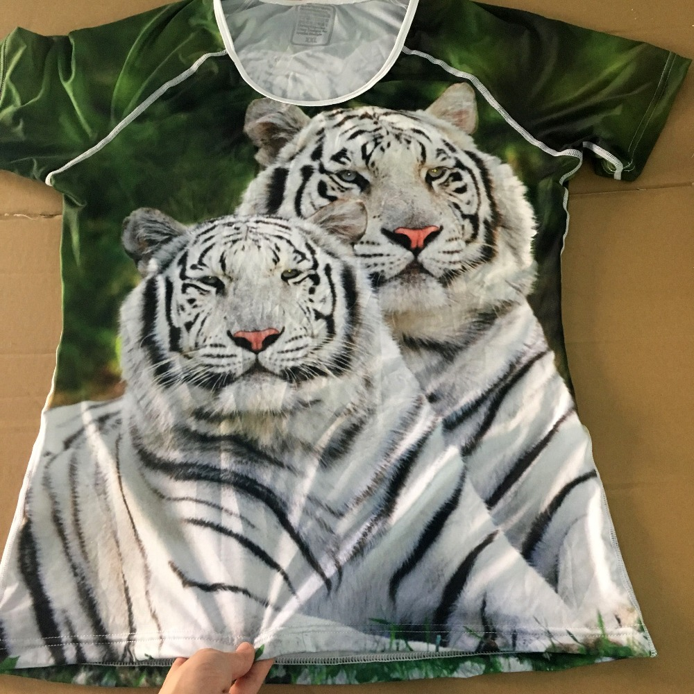 FORUDESIGNS 3D White Tiger Women T-shirt Crop Top For Women T-shirt - Կանացի հագուստ - Լուսանկար 3