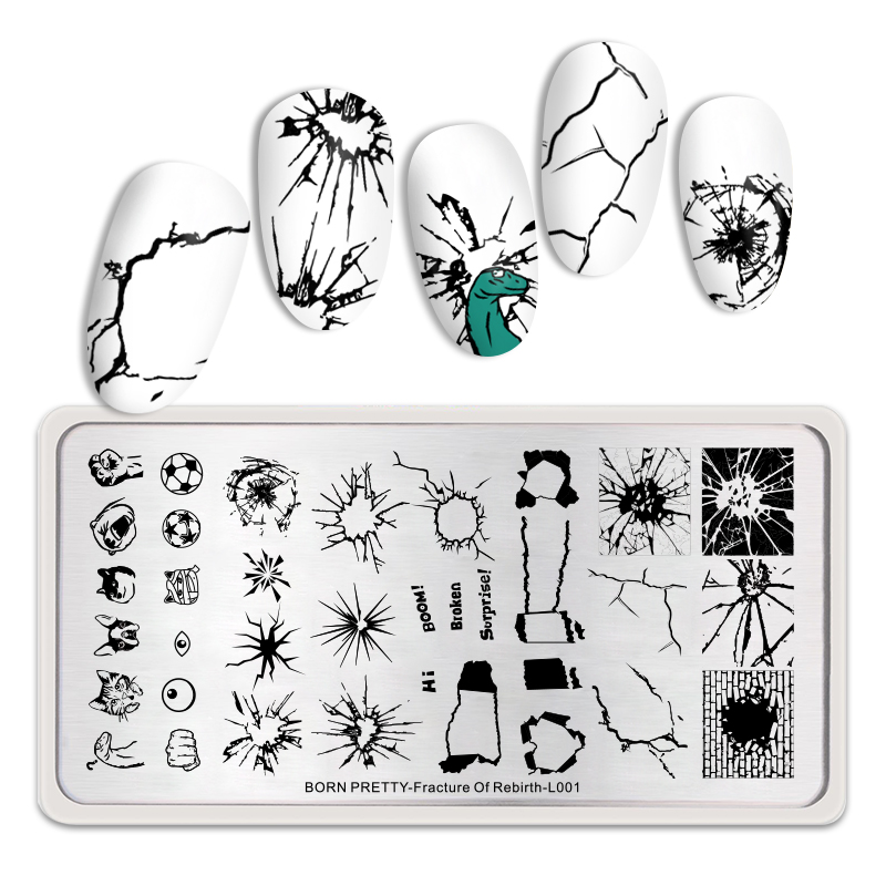 <font><b>BORN</b></font> <font><b>PRETTY</b></font> Nail Stamping Plates Decompress Theme Rectangle Nail Art Design Tool Nail Stamp Plate Fracture Of Rebirth <font><b>L001</b></font> image