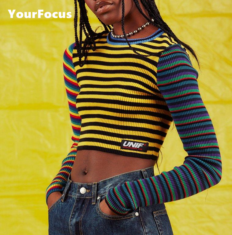 Fashion harajuku vintage punk contrast color rainbow striped multicolored cropped knit short pull femme women sweater Колготки