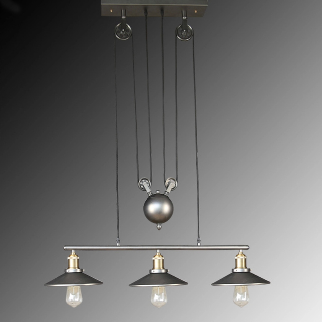 Brand-new Nordic Vintage Industrial Celling Lights Adjustable Rope Iron Hang  HF55