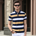 High quality men's newest classic striped short sleeve polo shirt for summer