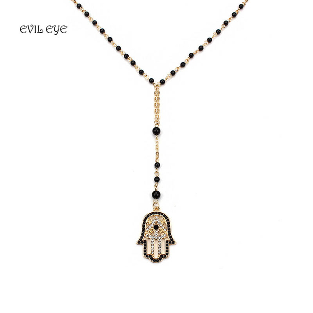 Evil eye Fashion Black Beads Necklace Evil Eye Hamsa Charm With Lobster clasp Adjustable Necklace Best Jewelry For Women Girl