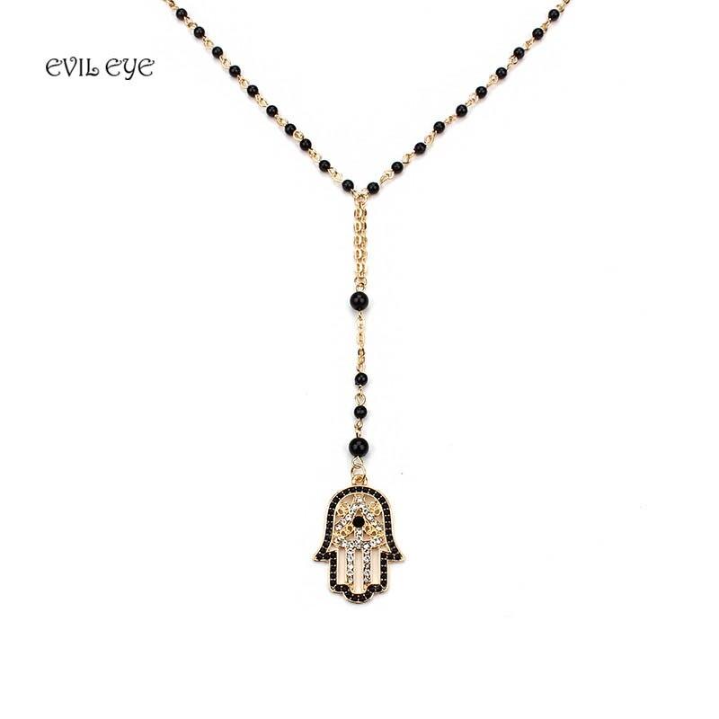 Evil eye Fashion Black Beads Necklace Evil Eye Hamsa Charm With Lobster clasp Ad
