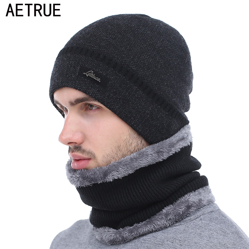 AETRUE Brand Winter Hat Knitted Hats Men Women Scarf Caps Mask Gorras Bonnet Warm Winter Beanies For Men Skullies Beanies Hat
