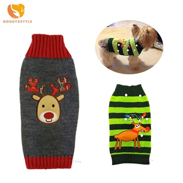 Navidad Reno perro suéter tejido moda ropa para mascotas mantener caliente perro ropa disfraz para cachorro Chihuahua DOGGYZSTYLE