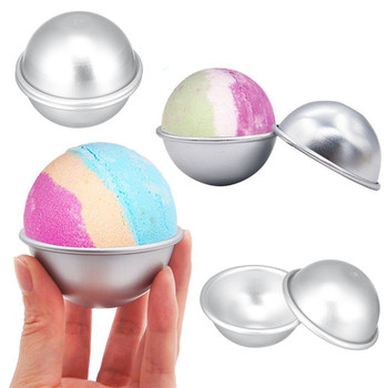 2PCS Round Aluminium Alloy Bath Bomb Molds DIY Tool Bath Bomb Salt Ball Homemade Crafting Gifts Semicircle Sphere Mold 1