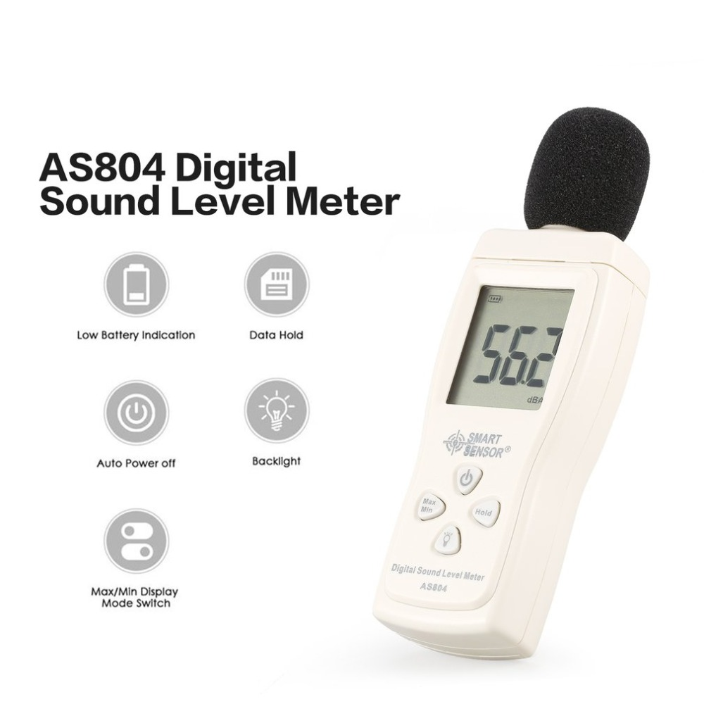 SMART SENSOR AS804 Digital Sound Level Meter Decibel Diagnostic-tool Monitoring Tester Noise 30d-130dBA DB Detector Analyzer