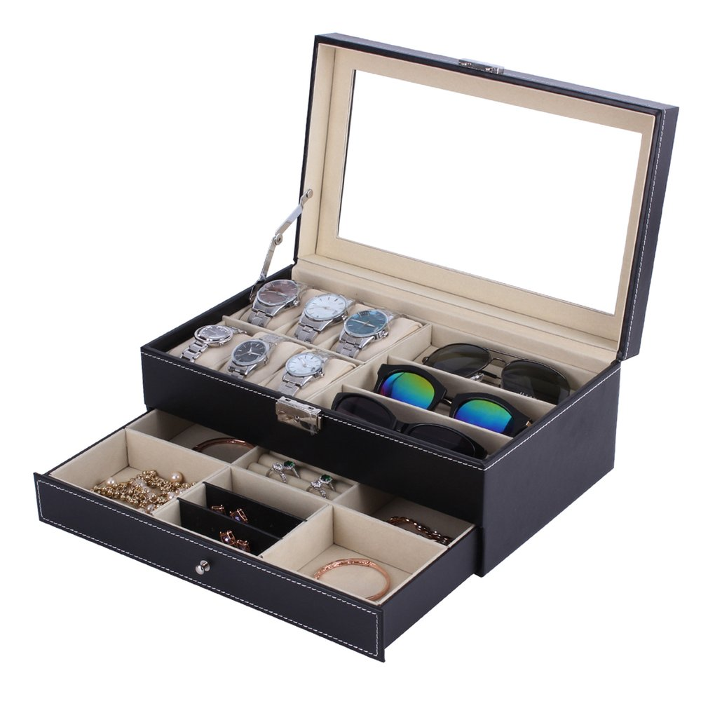 New Double Layers 6+3 Grids Watch Glassess Holder PU Leather Watch Box Rings Bracelet Storage Jewelry Display CasketNew Double Layers 6+3 Grids Watch Glassess Holder PU Leather Watch Box Rings Bracelet Storage Jewelry Display Casket