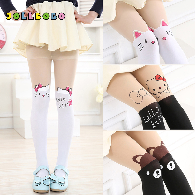 13 Colors Cute Cartoon Tights For Girls Lovely Hello Kitty Velvet Kids Pantyhose Cat Children Patchwork Dance Girl Tights Pants