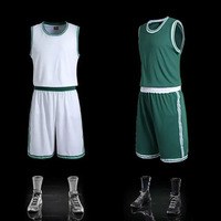 Team Uniform Mens Blank Basketball Jerseys Sports Training Shirt Short Sets Male Basketball Clothes White Green