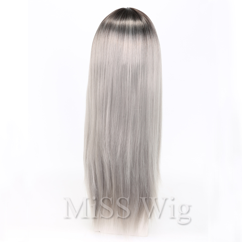 MISS WIG Long Straight Wig Block Ombre Blue Synthetic Wigs For Black Women High Temperature Fiber 250g