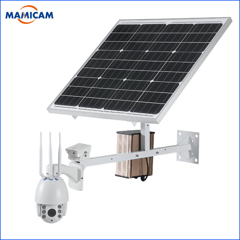 60W Solar Power Panel IP Camera Wifi 1080P HD 3G 4G SIM Card PTZ Solar Camera Outdoor 5X Optical Dome CCTV Video Security Cam