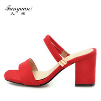 Fanyuan sandalias موهير 2018 الصيف عالية الجودة السيدات أحذية الكعوب اللمحة تو الأنثى أحمر القطيع فتاة الزفاف الأحذية