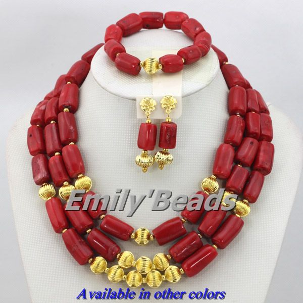 Nigerian Wedding African Beads Jewelry Set Red African Costume Necklace Jewelry Set Wholesale Free Shipping CJ212 amazing red nigerian wedding african beads jewelry set costume african jewelry sets bridal beads necklace free shipping abl001