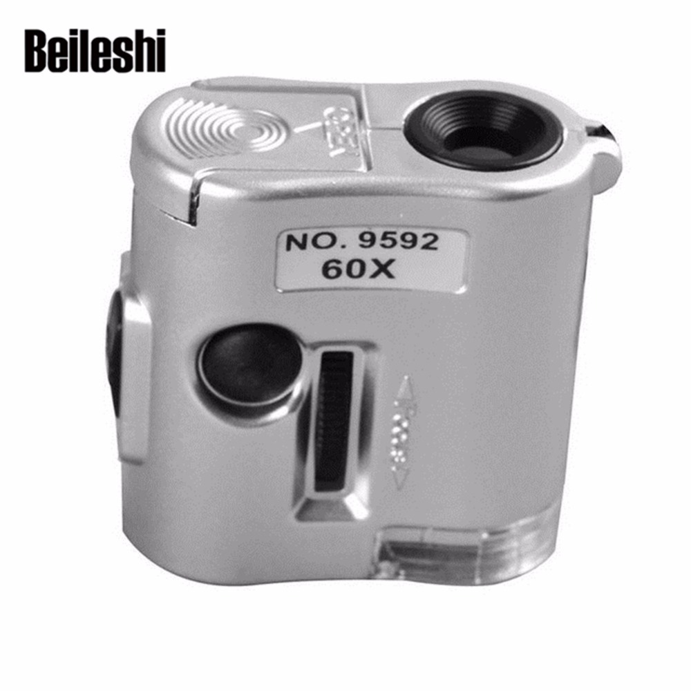 Beileshi 60x Zoom Magnifier LED UV Light Mini Pocket Portable Multifunction Microscope Coin Stamp Antiques Identification jhopt 40 times with light microscope magnifier identification of chinese cigarettes coins print outlets antiques appraisal