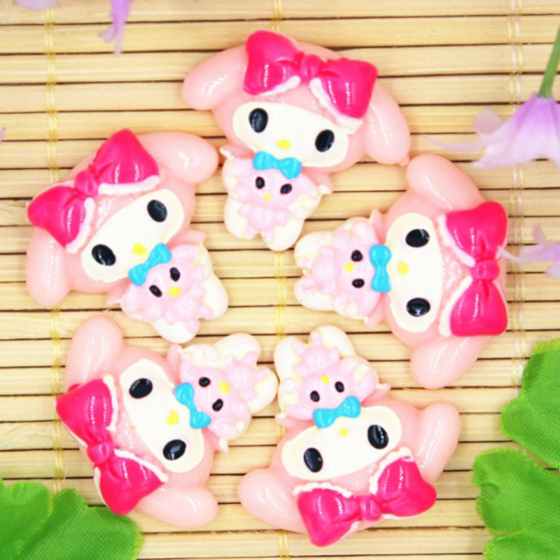 10 Pcs/lot Kawaii Cartoon My Melody Resin Patch For Child Hair Ornament Phone Decor Craft Toys