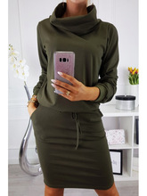 Women Bodycon Bandage Dress Clothing Fall 2018 Casual Turtleneck Long Sleeve Autumn Fashion Robe Femme