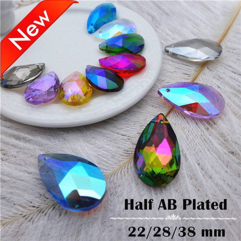 AB plated color crystal teardrop pendant pear shape new earring necklace jewelry diy accesories 22/28/38 mm chandelier lamp K9