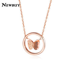 NEWBUY 2019 Trendy Rose Gold Color Stainless Steel Butterfly Pendant Necklace For Women Girl Unique Design Jewelry Best Gift(China)