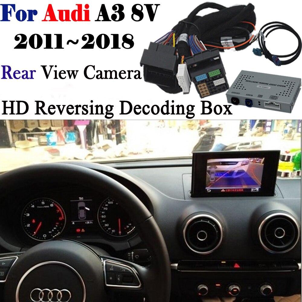 Câmara de marcha Para Audi A3 8 v 2011 ~ 2018 Adaptador de Interface de Backup Estacionamento Câmera de visão Traseira Conectar Tela Original MMI Decodificador