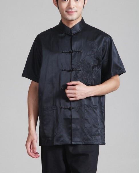 Summer Black 100% silk Chinese tradition Men's Kung Fu shirt top Plain Short Sleeves S M L XL XXL XXXL Free shipping