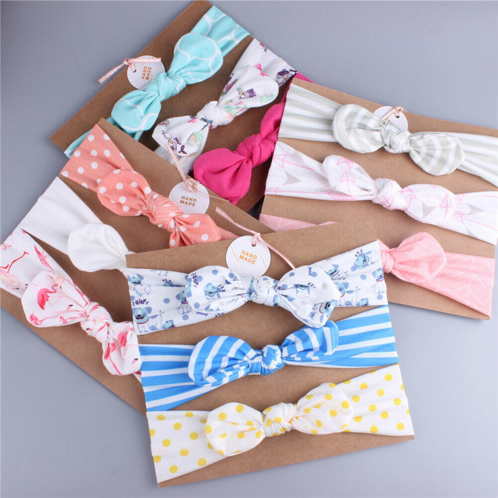 Children 39 s Cute Elastic Headbands 3Pcs Set Striped Dot Hairband Kids Girls Hair Flower Bow Head Band in Hair Accessories from Mother amp Kids