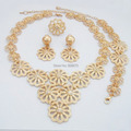 New Fashion Luxury Flower African Gold Jewelry Set Wedding Bridal DUBAI Gold Plated Jewelry Sets