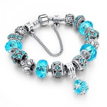 Women's Tibetan Silver Charm Bracelet Bracelets Jewelry Women Jewelry Metal Color: 271 blue