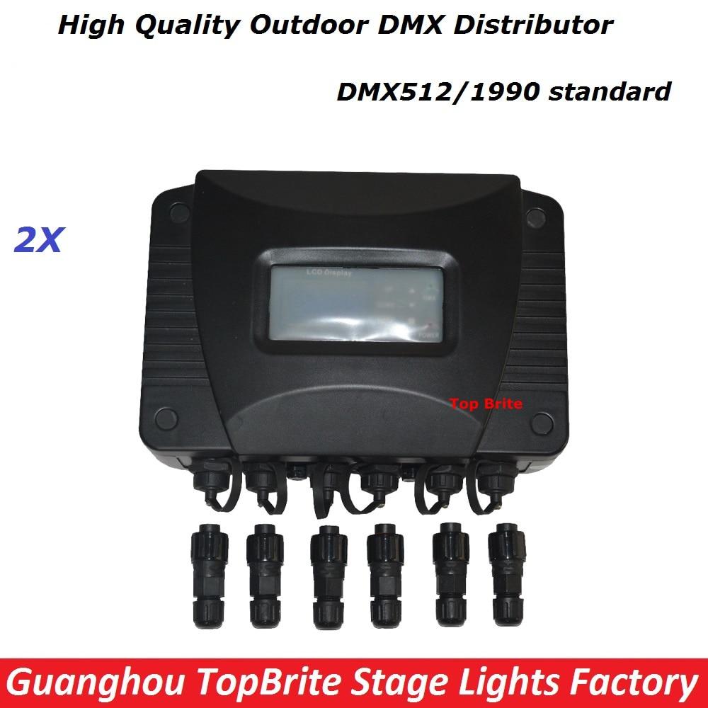 Free Shipping 2XLot New Outdoor Waterproof DMX Distributor Stage Lights Signal Amplifier Splitter DJ Disco Lighting Equipments