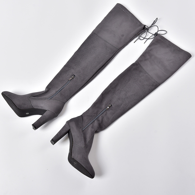 Women's Flock Leather Over The Knee Boots Size 34-43 14