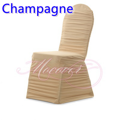 ruched chair covers stackable padded chairs champagne colour universal lycra pleated cover wedding decoration wholesale