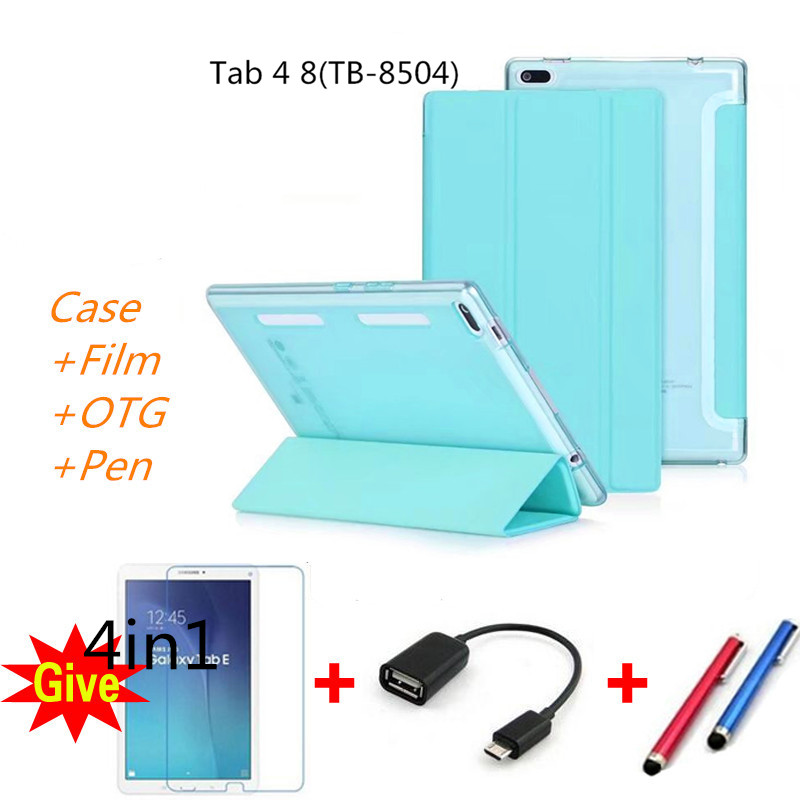 Case for Lenovo TAB 4 8, Smart Leather+Ultra Slim Light PC Cases Colorful back TPU Cover for Lenovo TAB4 8 TB-8504F TB-8504N for lenovo tab