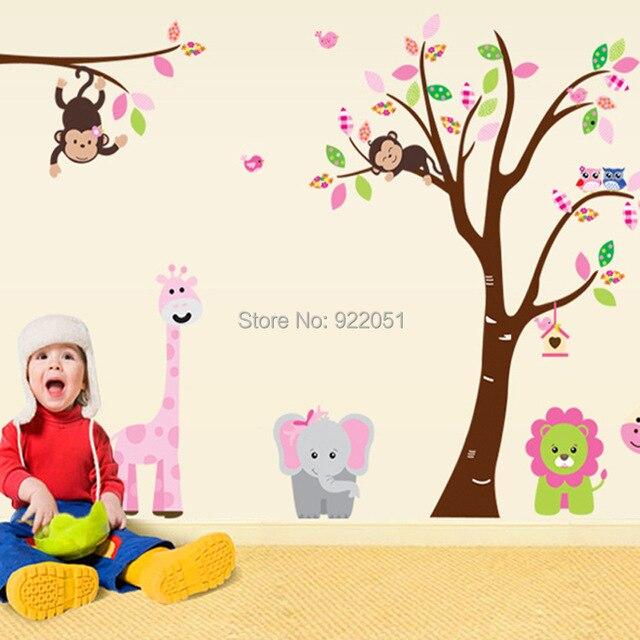 """Ay216ab 220 x 140 cm ( 87 """" x 55 """" ) adesivos de parede selva = 1 conjunto DIY macaco coruja viveiro Home Decor removível"""