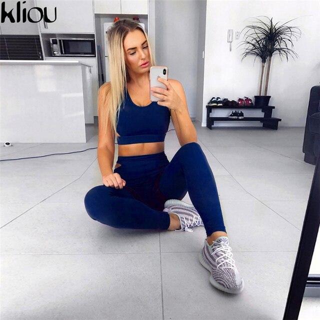 285e4da1 Kliou 2018 nuevo de mujer Casual chándales ropa deportiva de moda de  Fitness conjuntos Sexy tanque