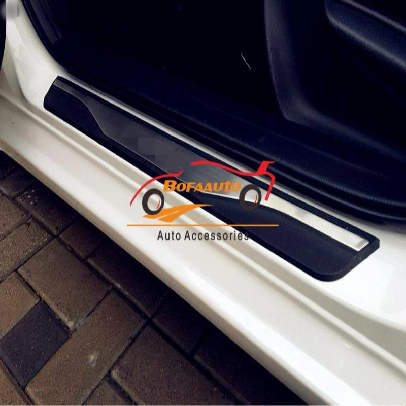 For Car Accessories Styling Mazda 3 Door Sill Scuff Plate Guards Protection Door Sills Pedal Protector Sticker 2014 2015 2017 carbon fiber vnyl door sill scuff plate welcome pedal threshold protect stickers for mazda cx 5 cx5 2014 2015 8pcs car styling