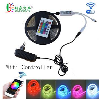 diy home smart zigbee strip controller work with amazon echo 5m 20 m set rgb 5050 led strip light non waterproof dc12v WiFi RGB Strip light controller Syc control by Alexa Smart Phone Google Home +5M 150LED 5050 RGB strip LED strip light+Power set