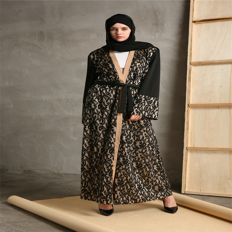 Mode Musulman Abaya Robes Ouverts Cardigan Patchwork Robe Maxi Robe - Vêtements nationaux - Photo 3