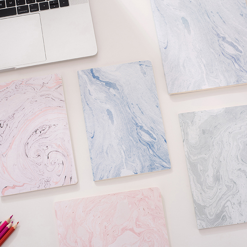 B5 A5 Cute Pink Notebook Paper Elegant Marble Lined Journals  Diary Stationery Office School Supplies