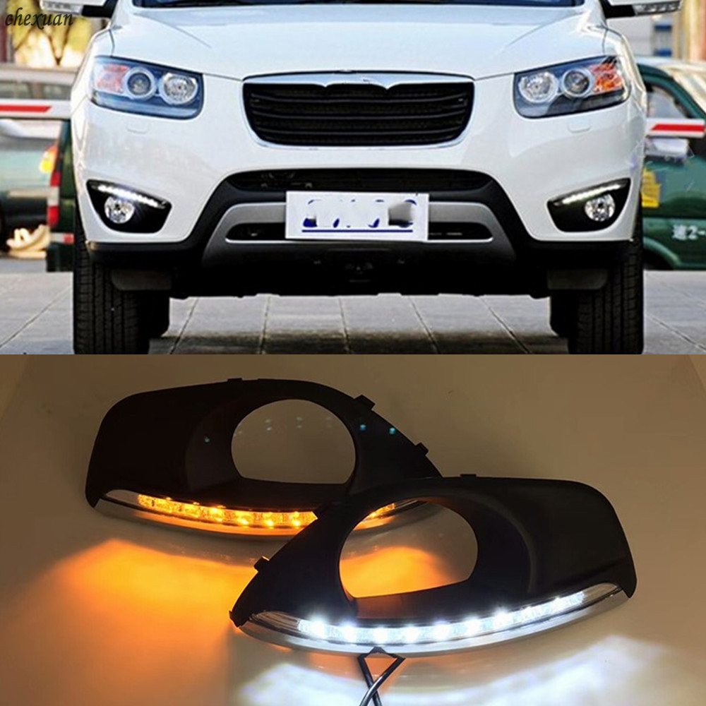 CSCSNL 2PCS LED DRL Daytime Running Lights Fog Lamp Cover With turnning yellow signal Lamp For