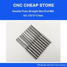 10 stks 3.175mm CED 2mm CEL 17mm Straight Slot Bit Hout Cutter CNC Vhm Twee Dubbele Fluit Bits CNC Router Bits